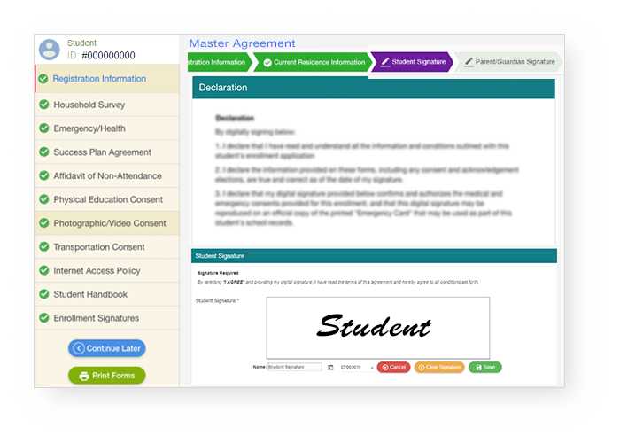 StudentTrac registration page